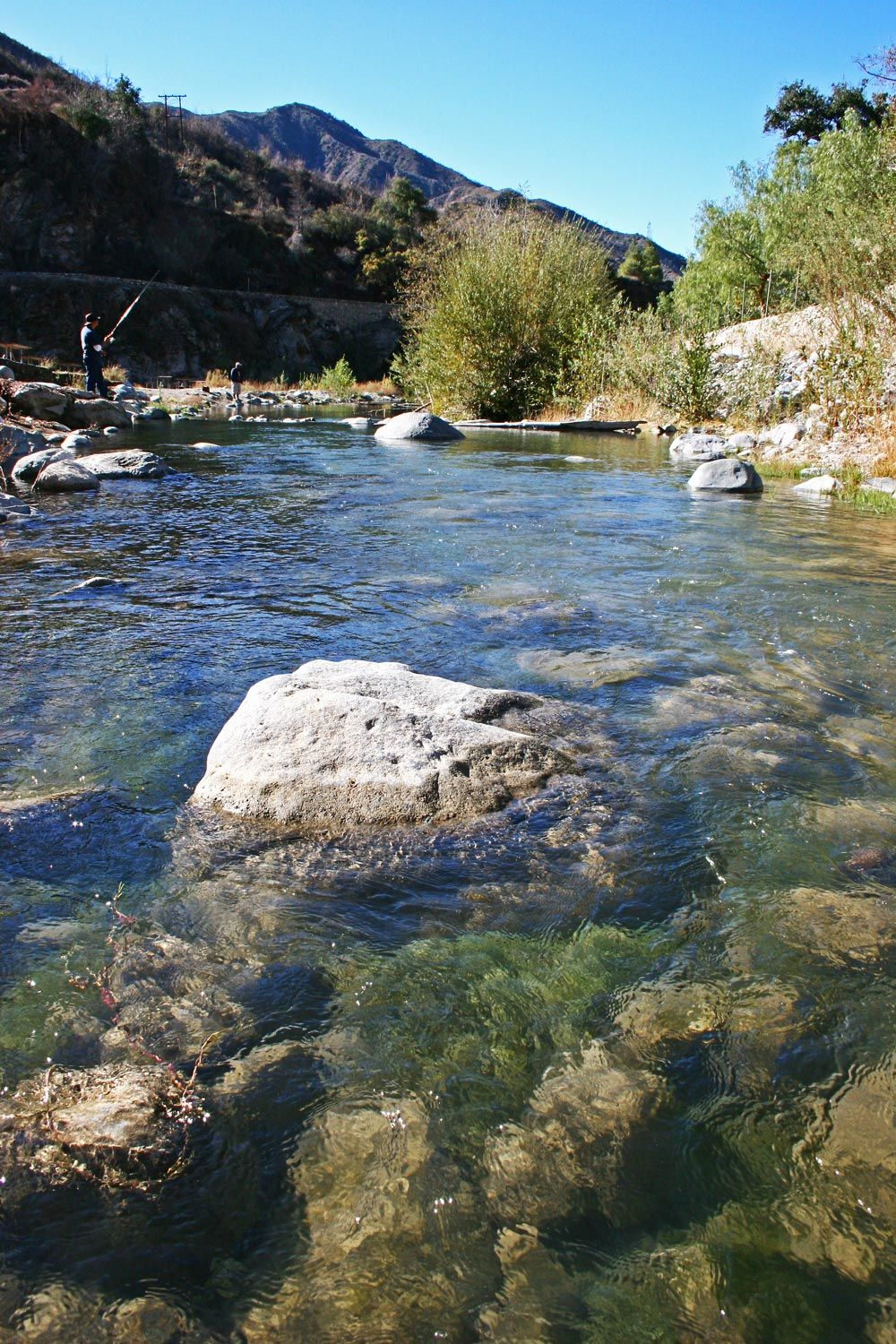 The East Fork of the San Gabriel River is a great fishing spot near our RV Resort.